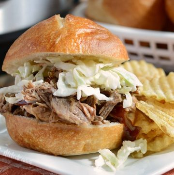 instant pot pulled pork sandwich with coleslaw and chips