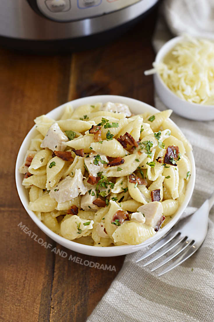 instant pot creamy chicken bacon ranch pasta on white plate