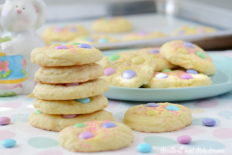 spring cake mix cookies with pastel m and m candies