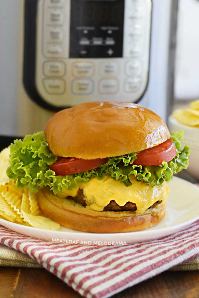 cheeseburger with lettuce and tomatoes on plate by a pressure cooker