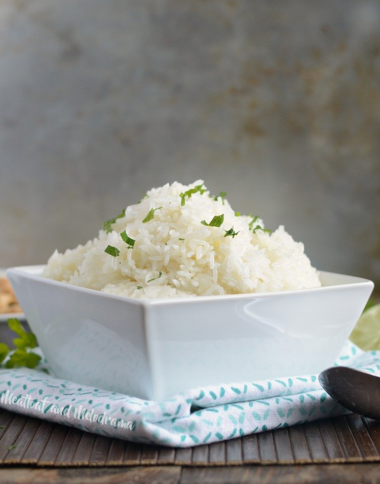 instant pot jasmine rice with cilantro in white bowl
