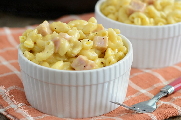 instant pot mac and cheese with ham in white ramekins