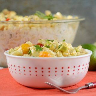 instant pot southwest macaroni salad in red and white bowl