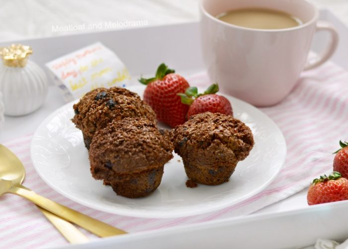mighty kong bran muffins on breakfast tray