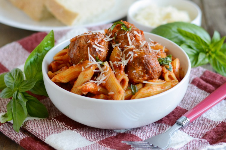 instant pot pasta and meatballs with basil
