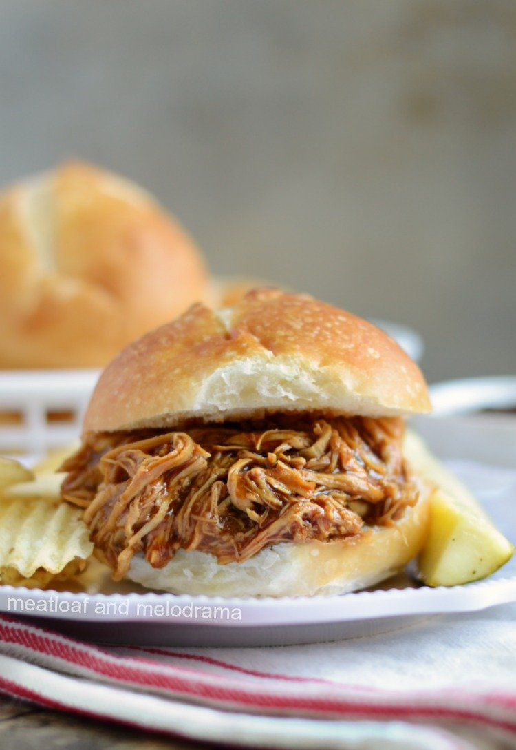 pulled instant pot bbq chicken slider on plate