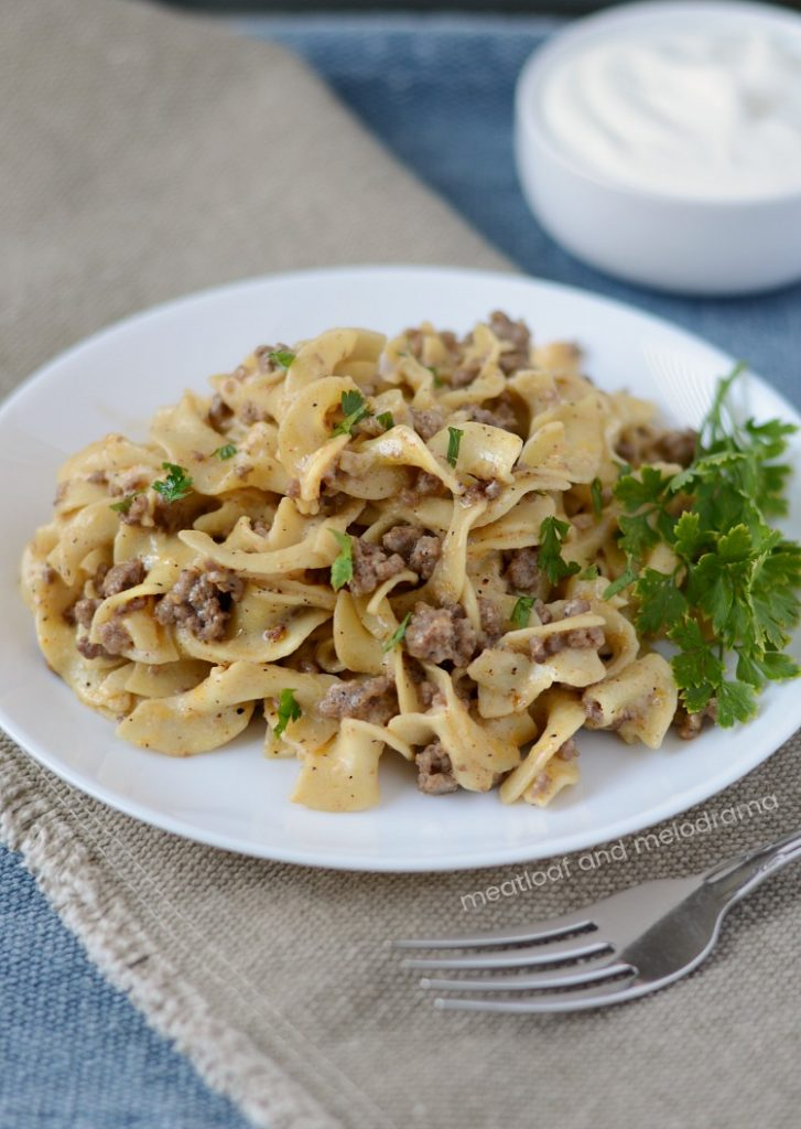 instant pot ground beef stroganoff without mushrooms on plate
