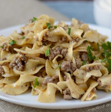 instant pot ground beef stroganoff on white plate with parsley