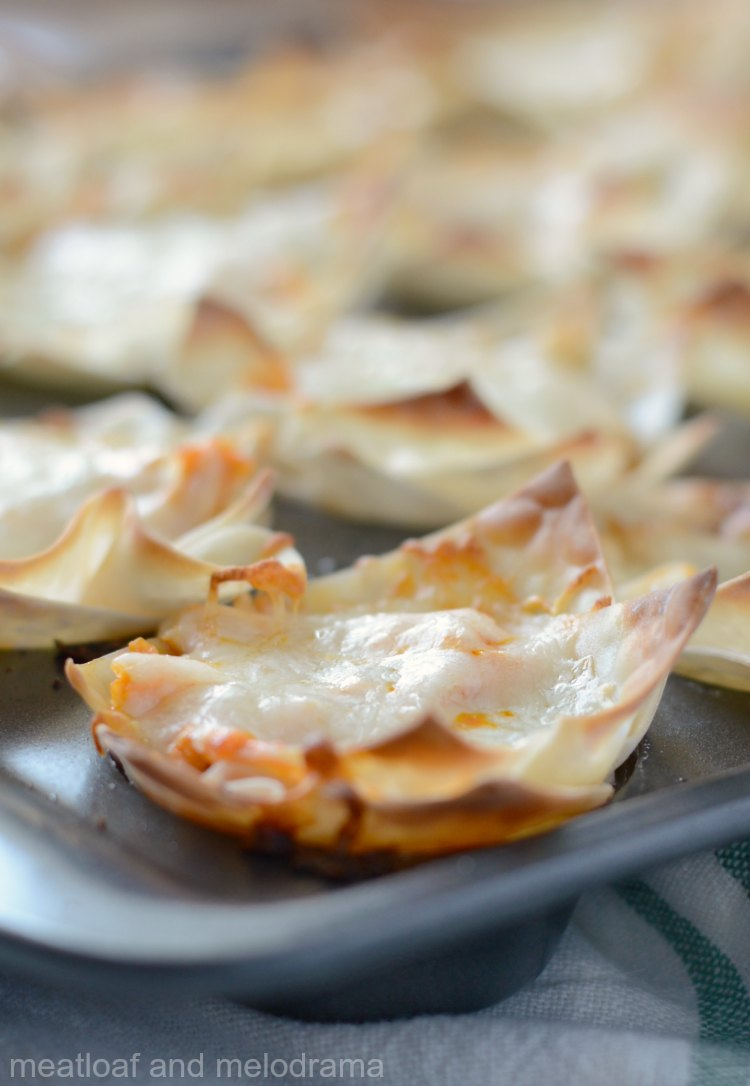 baked instant pot buffalo chicken wonton cups in muffin tin