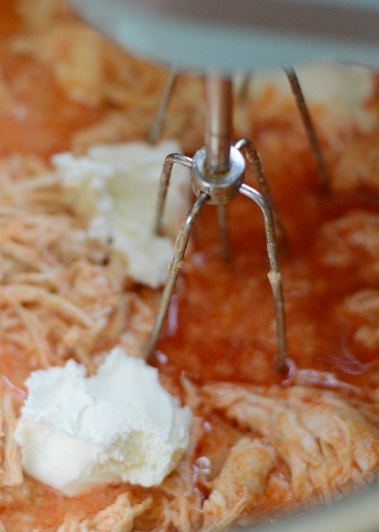 mix cream cheese with shredded instant pot buffalo chicken dip