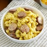 bowl of instant pot kielbasa mac and cheese