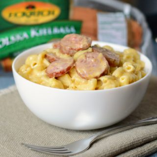 instant pot smoked sausage mac and cheese in a bowl with eckrich kielbasa