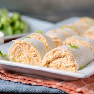 instant pot buffalo chicken roll ups on white platter