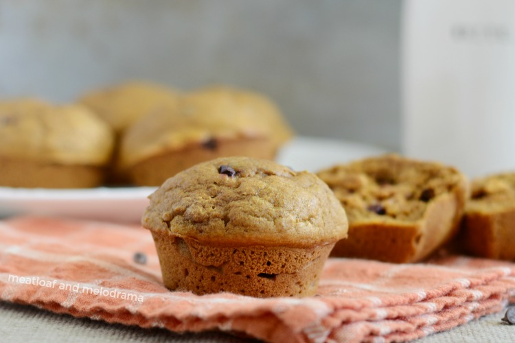 easy one bowl pumpkin spice muffin with chocolate chips on napkin