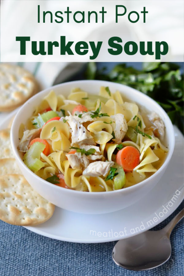 Instant Pot Turkey Soup made from homemade leftover turkey bone broth stock