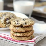 best oatmeal chocolate chip cookies stacked with milk