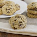 best oatmeal chocolate chip cookies on the table with milk