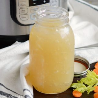 instant pot turkey stock bone broth in mason jar