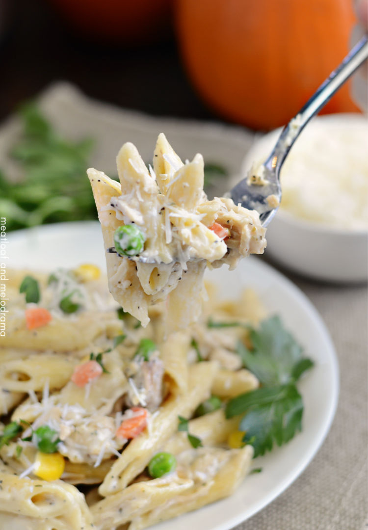 instant pot turkey noodle casserole on fork