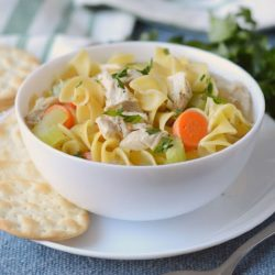 Instant pot turkey soup with noodles in a white bowl