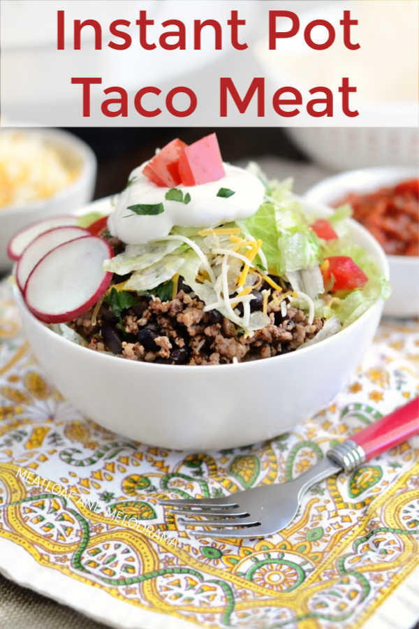 Instant Pot Beef Taco Meat with black beans and rice in taco bowls