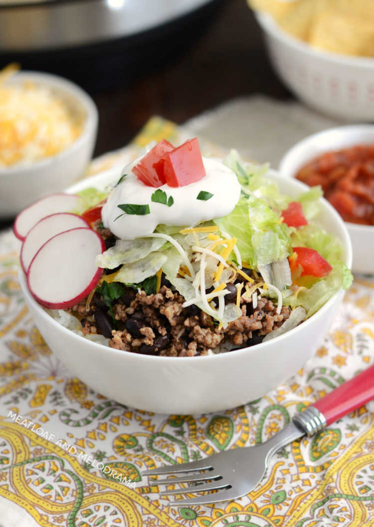 instant pot beef taco meat over rice with taco toppings