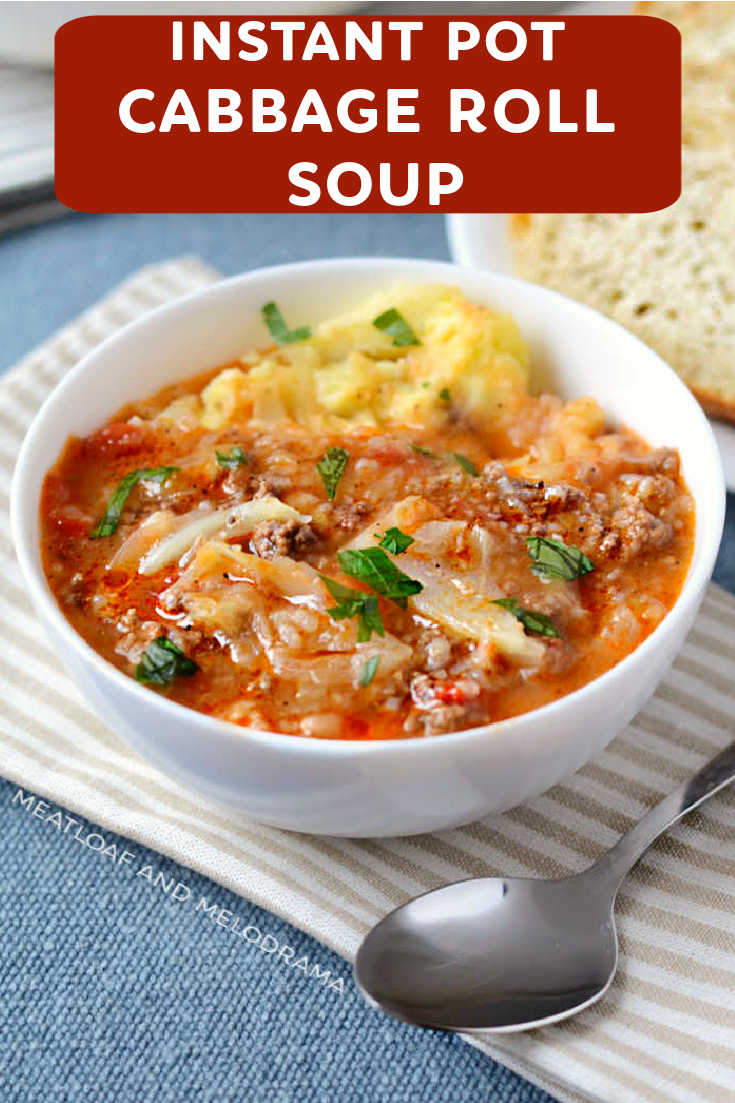 Instant Pot Cabbage Roll Soup made with chopped cabbage, ground beef, pork, rice and tomato soup is quick and easy unstuffed halupki.