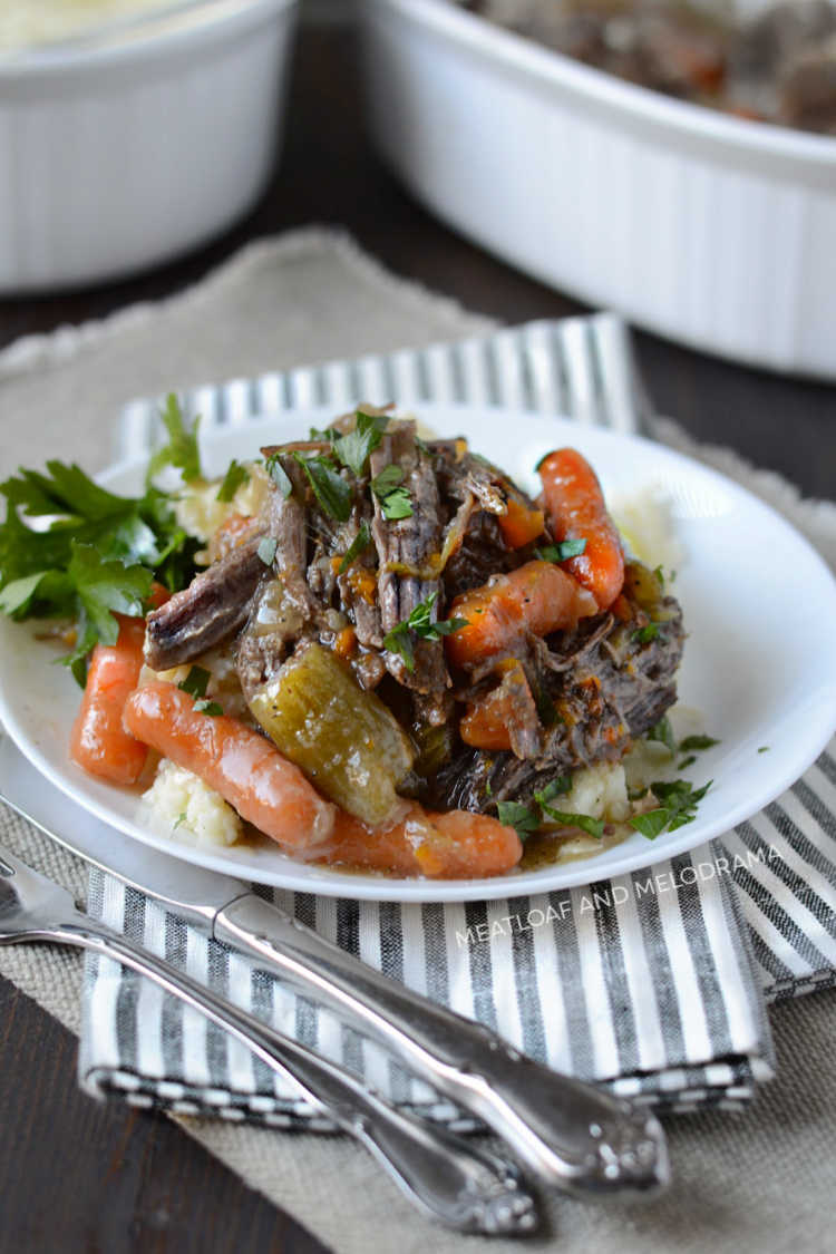 instant pot beef chuck roast with carrots over mashed potatoes