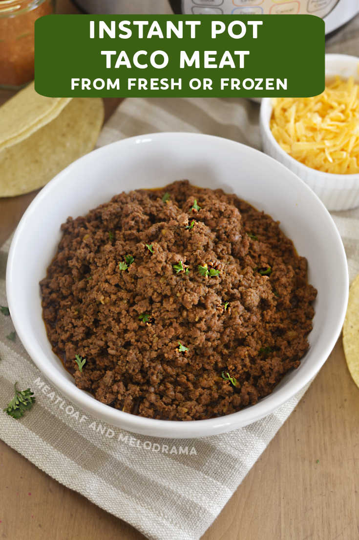 Make Instant Pot Beef Taco Meat with fresh or frozen ground beef and homemade  seasoning with this easy recipe. Perfect for tacos and burritos.