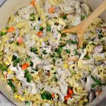 one pot turkey noodle casserole in cream sauce with vegetables and pasta