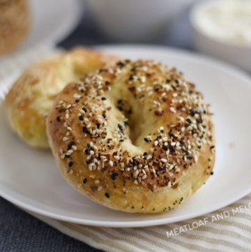 2 ingredient bagels on a white plate