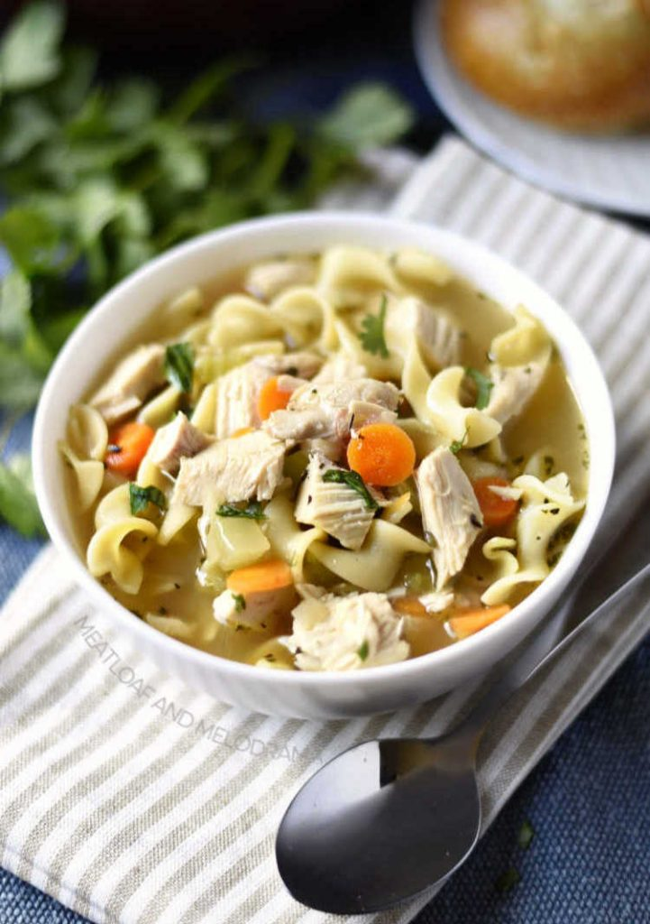 bowl of homemade chicken noodle soup with carrots celery and parsley