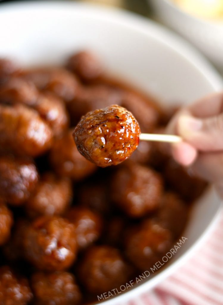 instant pot grape jelly meatball on toothpick