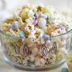 bunny bait snack mix in a glass easter bunny bowl