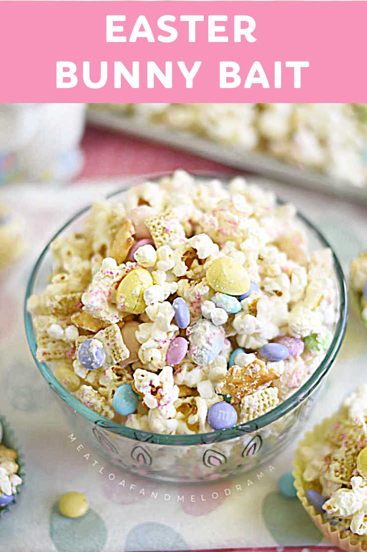 Bunny Bait Snack Mix is an easy Easter treat made with popcorn, Chex, marshmallows and candy in a white chocolate drizzle. Salty and sweet!