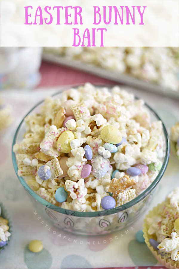 easter bunny bait snack mix in bowl