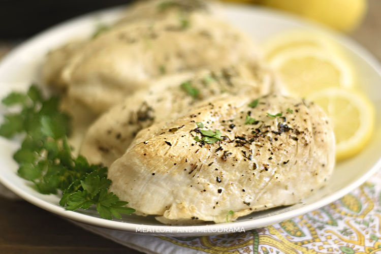 instant pot chicken breasts with lemon on white platter