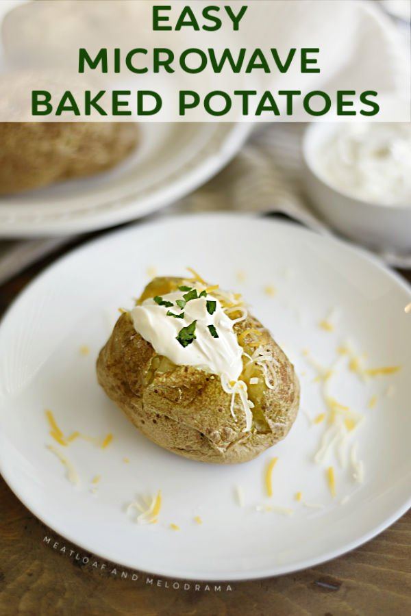 microwave baked potato topped with butter and sour cream