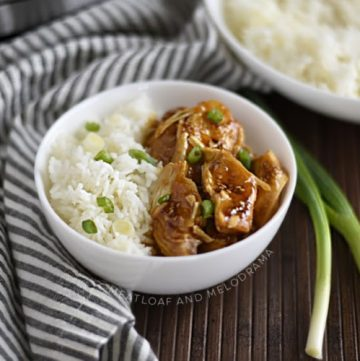 instant pot teriyaki chicken and rice in bowl