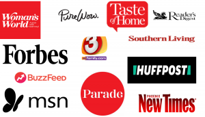 collage of company logos such as forbes, msn, taste of home etclike