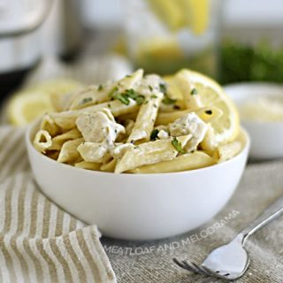 bowl of lemon chicken pasta made in the instant pot