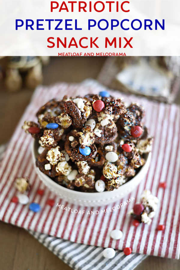 patriotic pretzel popcorn snack mix in white bowl