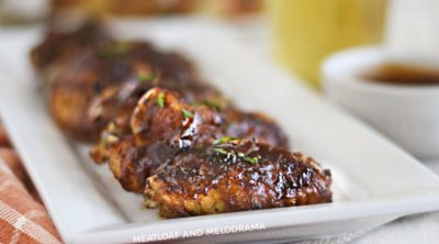 Air Fryer bbq chicken wings on a white serving platter