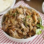 crispy shredded pork carnitas in white bowl
