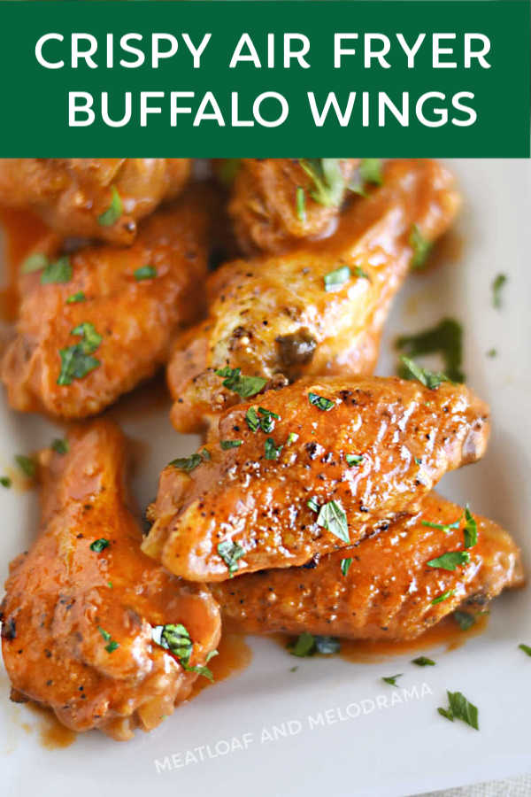 crispy air fryer buffalo wings with parsley flakes