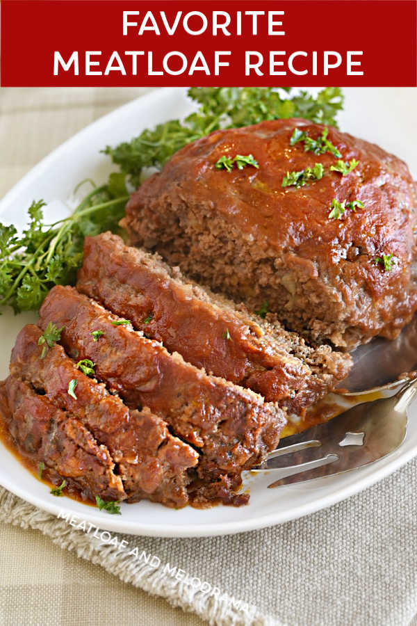 favorite meatloaf recipe with tomato sauce glaze on platter