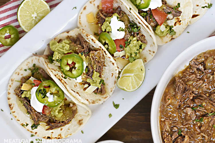 street tacos on a platter made with instant pot shredded beef