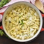 one pot chicken alfredo penne pasta in a red dutch oven with parsley