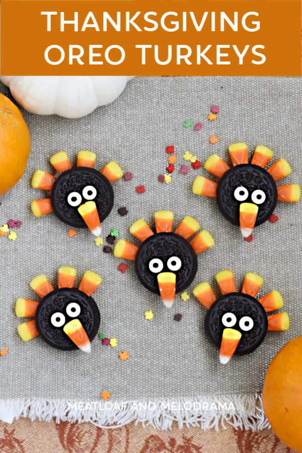 thanksgiving oreo turkey cookies with candy corn on the table