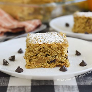 easy banana pumpkin cake with chocolate chips on a white plate